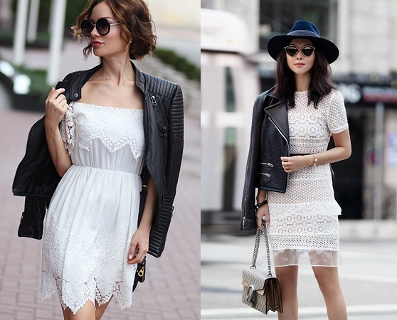 Leather Jacket With Lace Dress