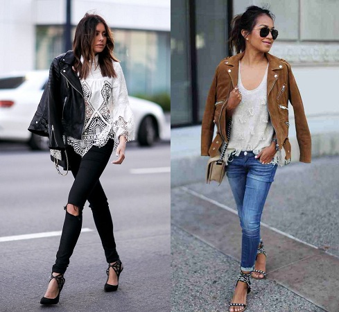 Leather Jacket With Lace Top