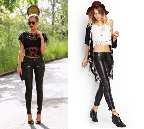 Leather Leggings With Lace Top