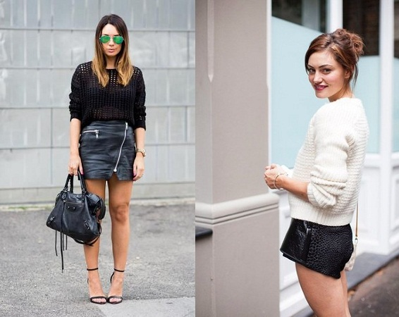 Leather Shorts With Knit Sweater