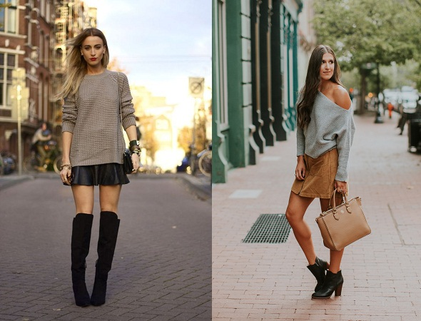 Mini Skirt And Chunky Knit