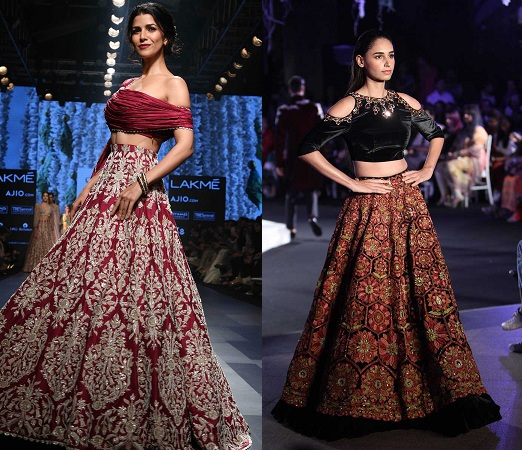 Off-shoulder blouse with lehenga