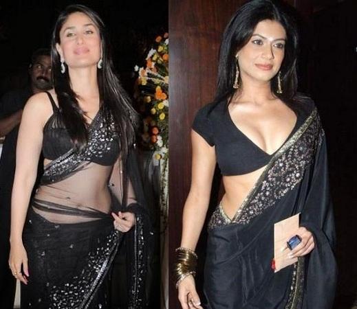 Seductive Black Sari
