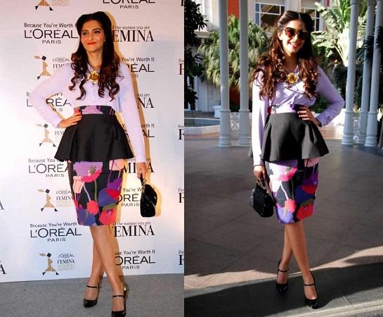 Sonam Kapoor In Peplum Dress