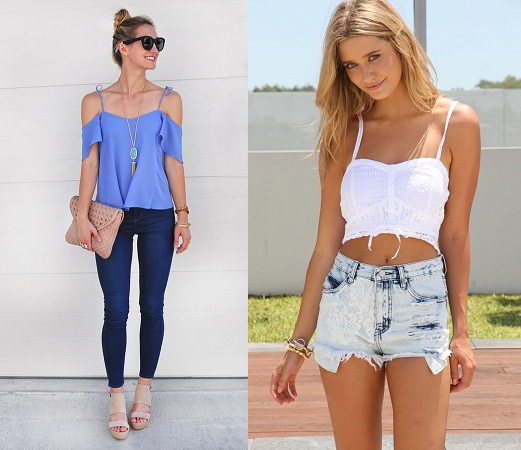 Spaghetti Strap Blouse Design With Jeans And Shorts