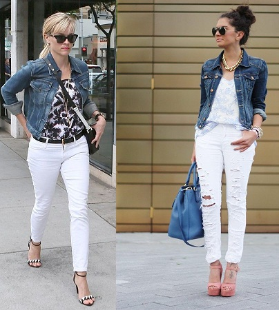 White Jeans With Denim