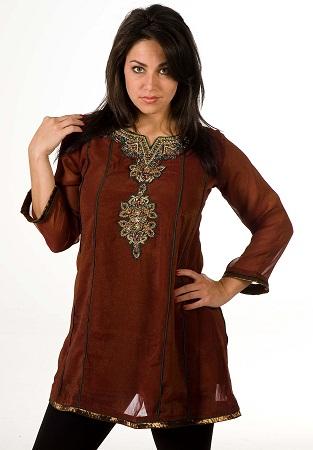 Brown Anarkali Style Kurti