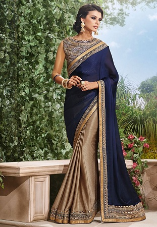 Chiffon Saree With Embroidered Blouse