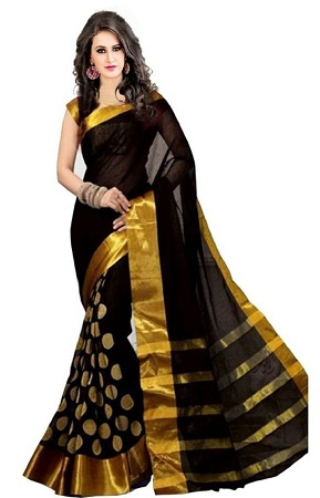 Cotton Saree With Gloden Silk Border