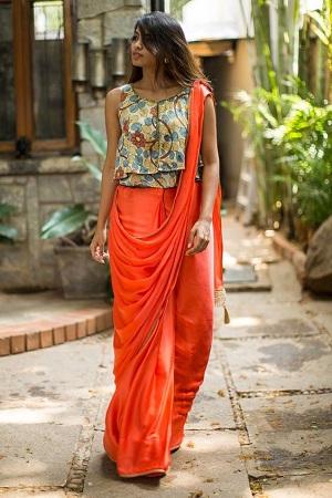 Crop Top Saree Draping Style