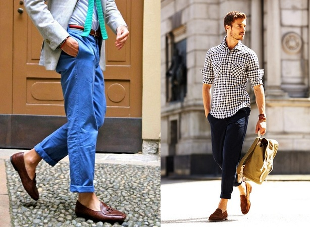 Loafers Shoes With Colourful Chinos