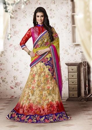 Multicolour Lehenga Style Saree