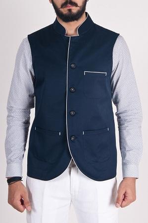 Tussar Ghicha Chinese Collar Sleeveless Jackets