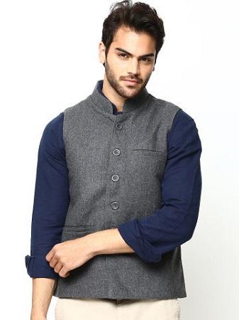 Tussar Ghicha Striped Sleeveless Jackets