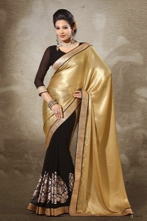 Viscose Satin Gold Georgette Saree