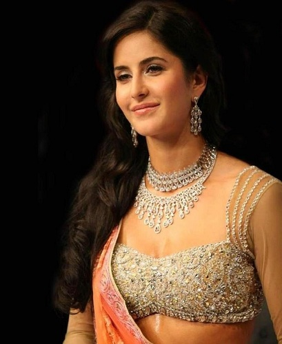 Katrina Kaif in designer rhinestone strap blouse with Jewelled work