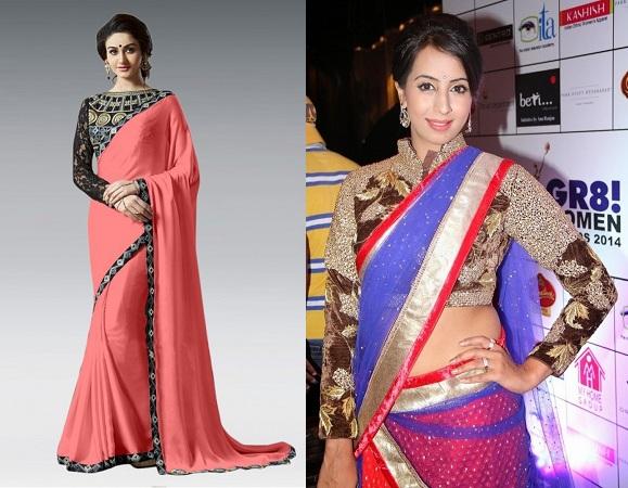 Plain Saree With Sleeve patchwork