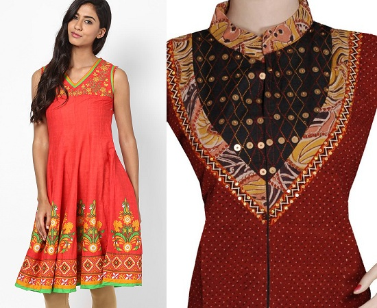 V-Neck And Chinese Collar Kurties