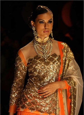 gold work on sleeves for sheer blouse