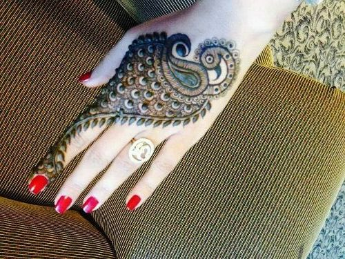 Beautiful Peacock Mehendi Design For Back Of Hand