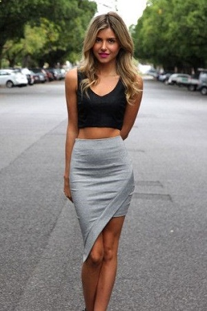 Crop Tops With Asymmetrical Skirt