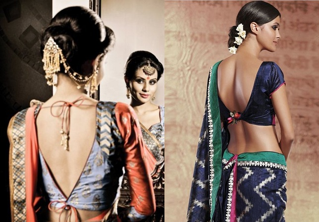 Deep V Back Saree Blouse
