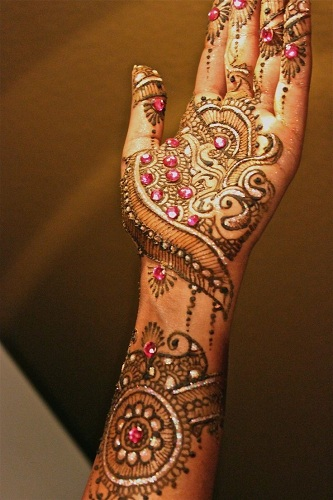Glitter Mehendi Design with Stonework