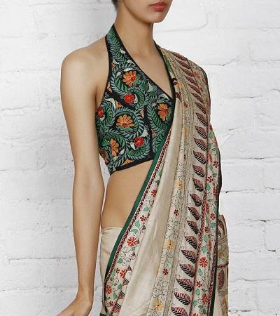 Kantha-stitch Saree Blouse