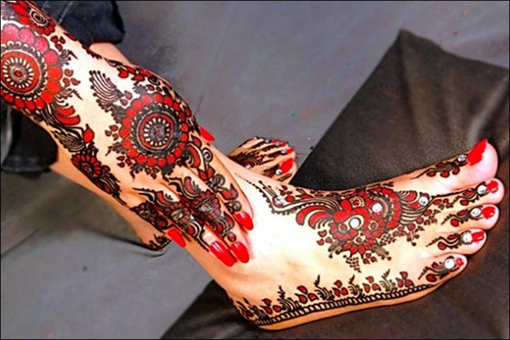 Multi Colored Mehendi Design For Feet