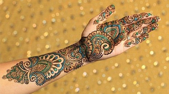 Multi Colored Mehendi Design For Full Hands