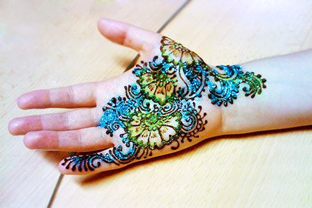 Multi Colored Mehendi Design