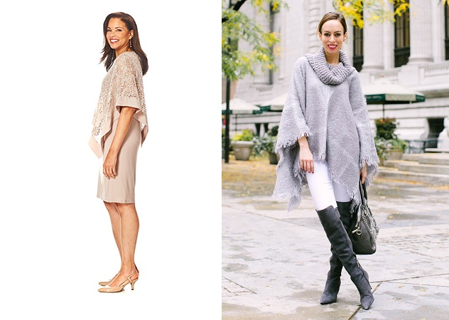 Poncho With pencil Skirts And Jeans