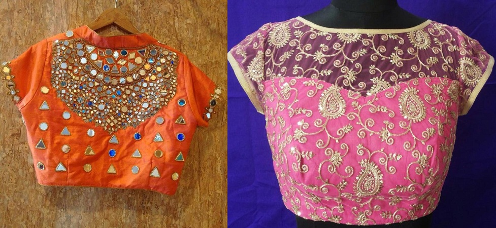 Boat Neck Blouse Design With Embellished Work
