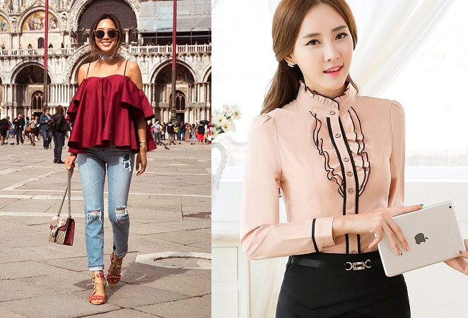 Casual And Formal Ruffled Top