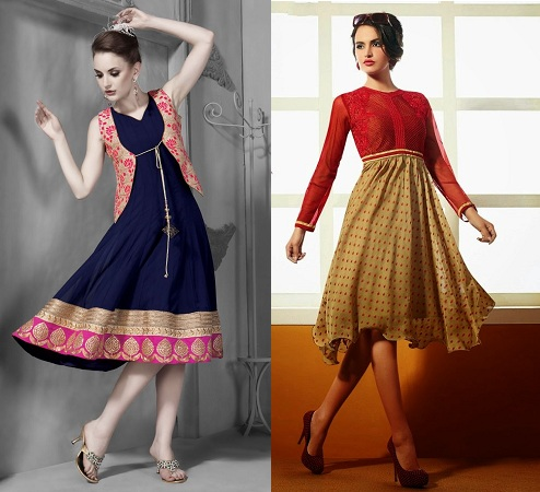 Embroidered Flared Kurtis Without Leggings