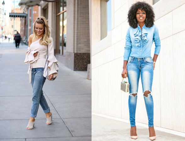 Ruffled Tops With Denim
