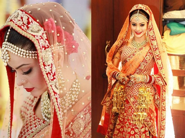 Aamna Sharif In Red Orange Lehenga