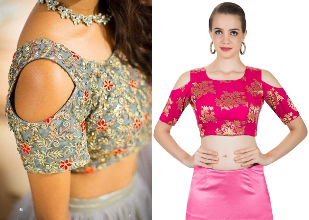 Cold Shoulder Sleeve Saree Blouse
