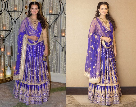 Dia Mirza In Offbeat Blue Lehenga