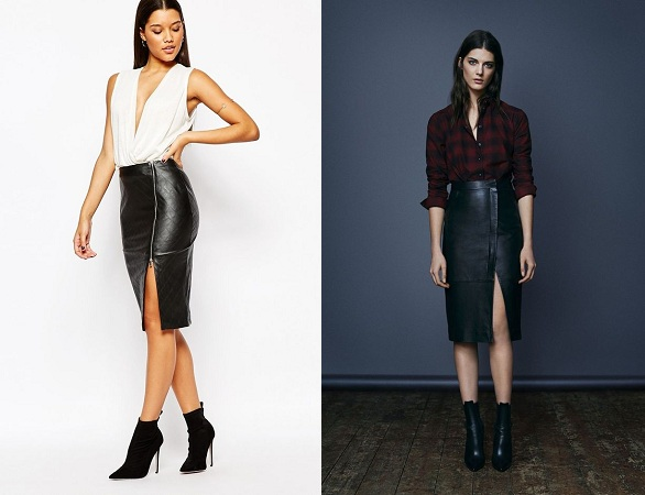 Faux Leather Sexy Slit Skirts