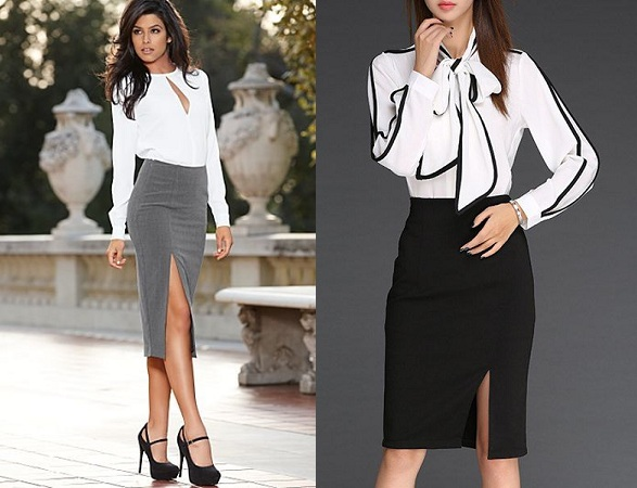 Full sleeved Blouse With Pencil Skirt