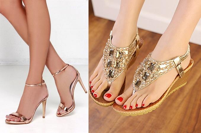 Golden Sandals And Stilettos
