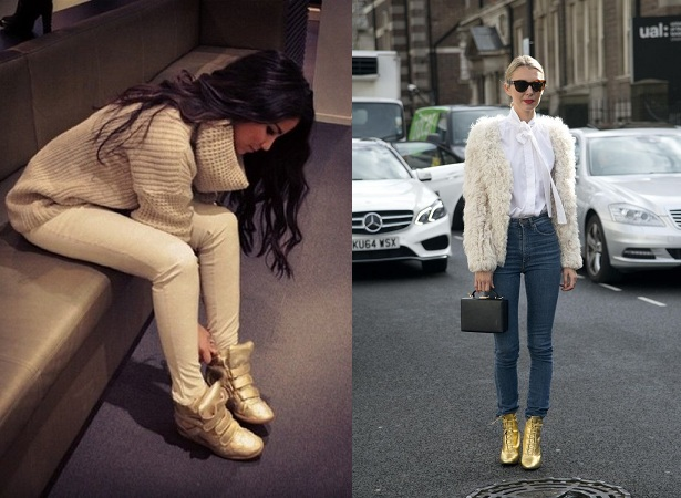 Golden Shoes With Cream Color Sweaters