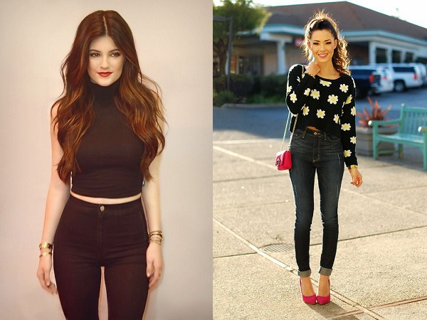 High Waist Jeans With Crop Top