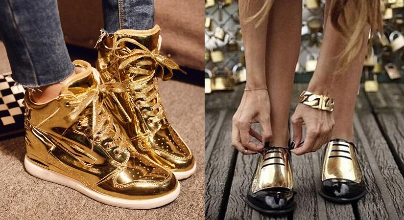 Metallic Golden Shoes