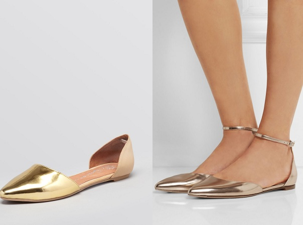 Pointy Toe Golden Flats