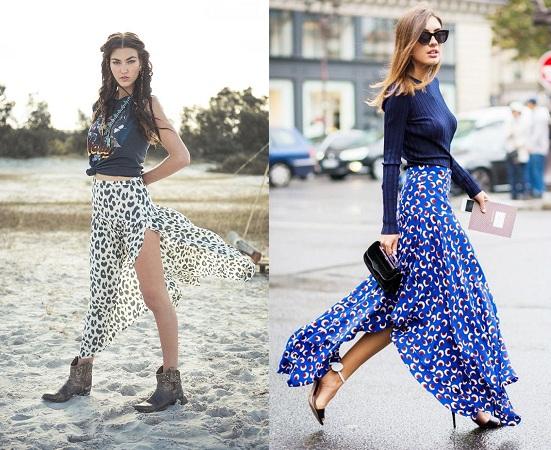 Print Slit Skirts