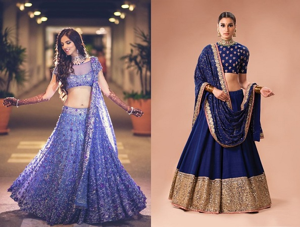 Purple And Pale Blue Lehengas