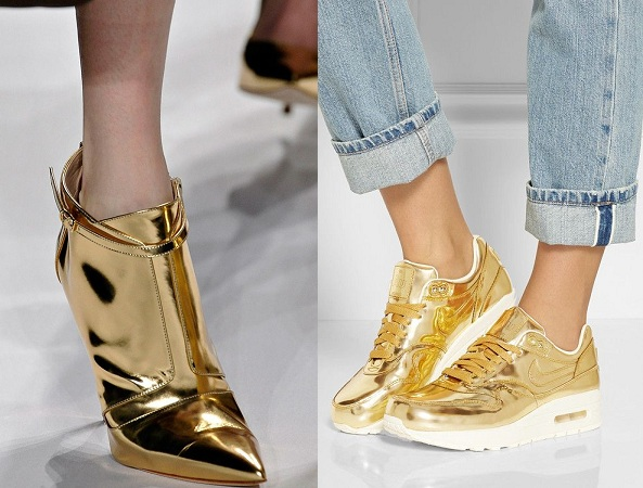Shiny Golden Heels And Shoes