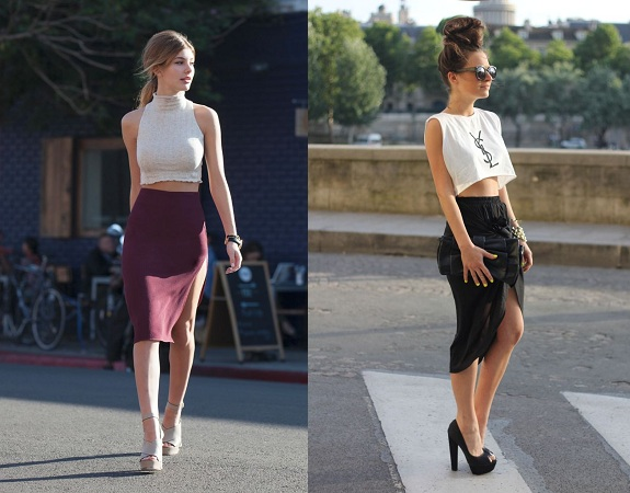 Slit Skirts With Crop Top
